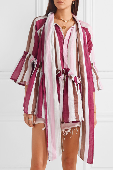 Angelica ruffled striped linen tunic