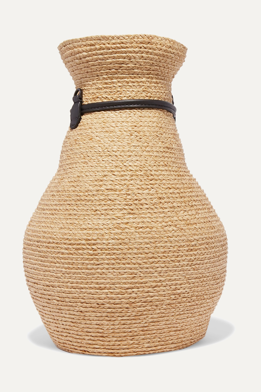 Albus Lumen Sac porté épaule en raphia et en cuir Figura x Helen Kaminski