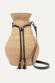 Figura leather-trimmed raffia shoulder bag