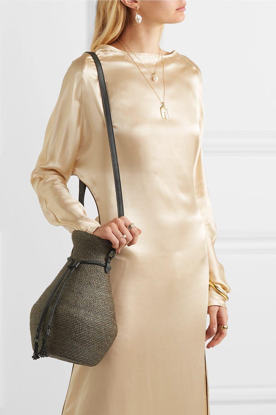 Albus Lumen + Helen Kaminski Figura leather-trimmed raffia shoulder bag