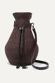 Albus Lumen + Helen Kaminski Figura leather-trimmed raffia shoulder bag
