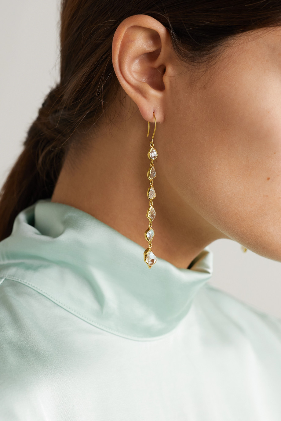 Pippa Small Crystallinity 18-karat gold Herkimer diamond earrings