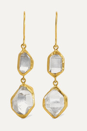 Pippa Small Crystallinity 18-karat gold Herkimer diamond earrings