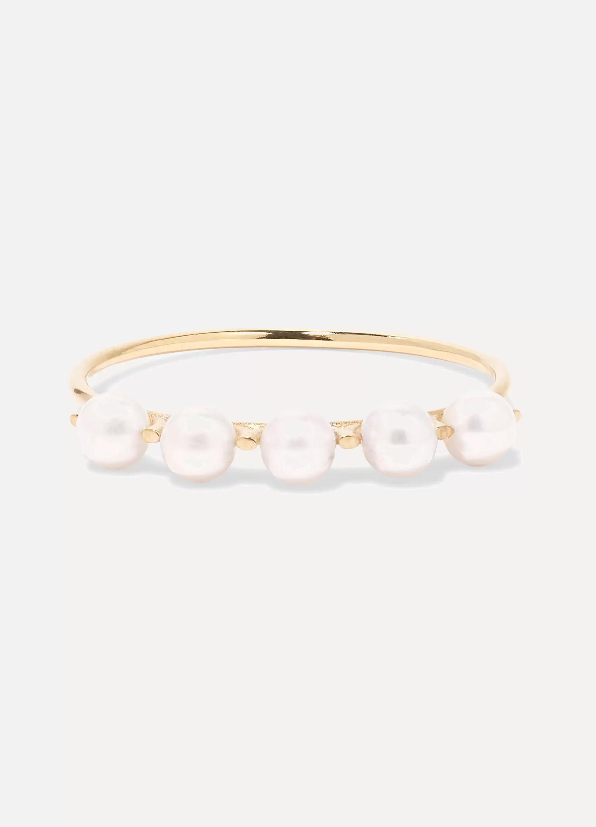 SARAH & SEBASTIAN Phoebe Perle goldfarbener Ring mit Perlen