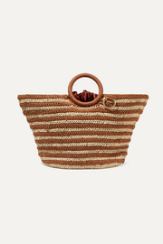 Sun striped crocheted raffia and cotton tote