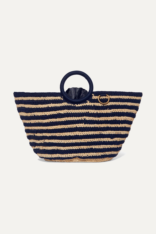 Mizele Sun striped crocheted raffia and cotton tote
