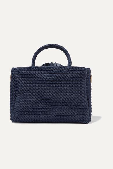 MIZELE   Mizele - Muzelle Crocheted Cotton Tote - Navy   Goxip