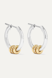 Ara sterling silver, 18-karat gold and diamond hoop earrings