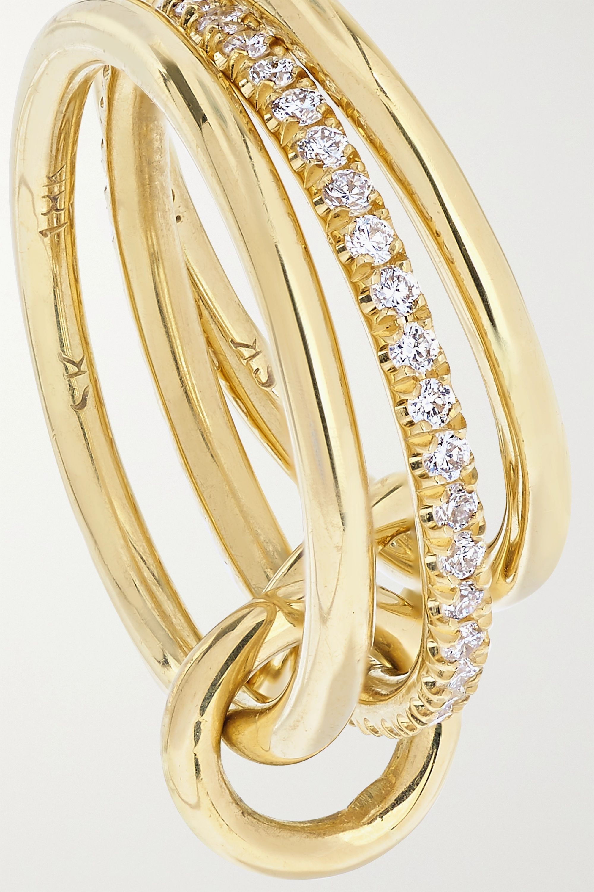 Spinelli Kilcollin Sonny set of three 18-karat gold diamond rings