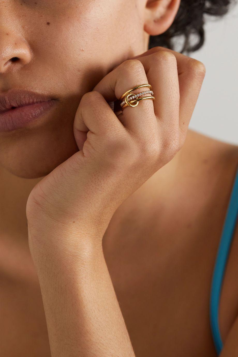 Spinelli Kilcollin Sonny set of three 18-karat gold diamond rings