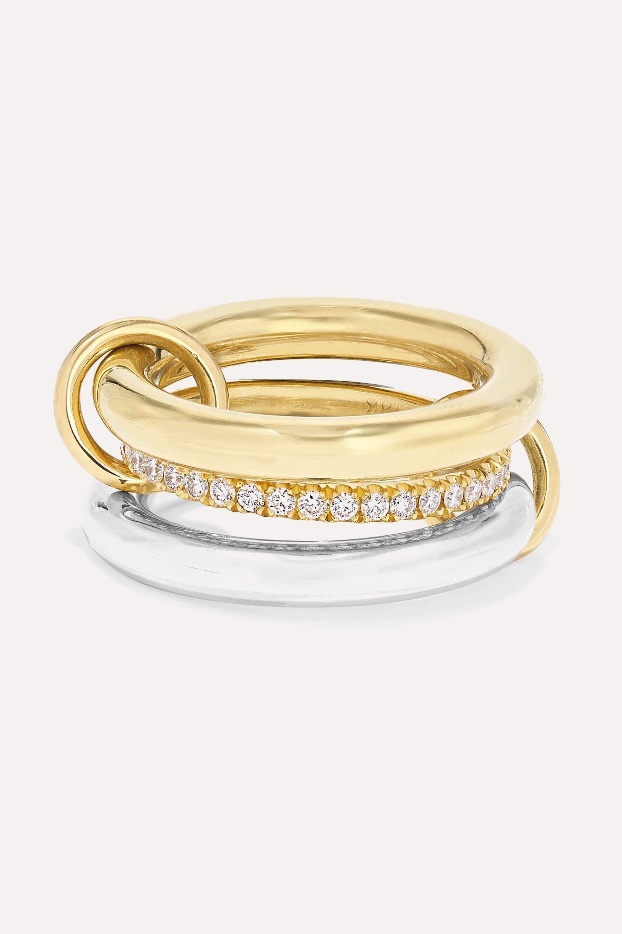 Spinelli Kilcollin Libra set of three 18-karat gold, sterling silver and diamond rings