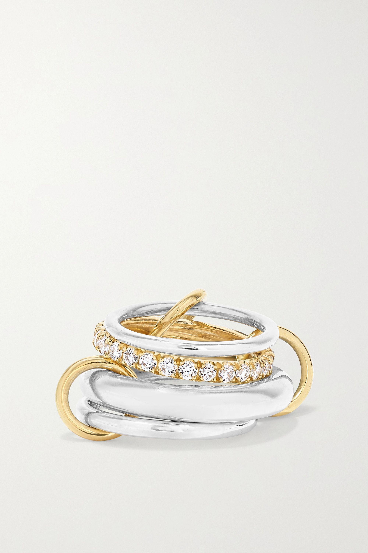 Spinelli Kilcollin Set de quatre bagues en or 18 carats, argent sterling et diamants