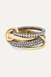 Spinelli Kilcollin Set of four 18-karat gold and rhodium-plated sterling silver diamond rings