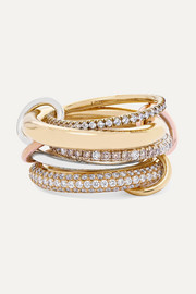 Spinelli Kilcollin Nexus Blanc set of five 18-karat yellow and rose gold and sterling silver diamond rings