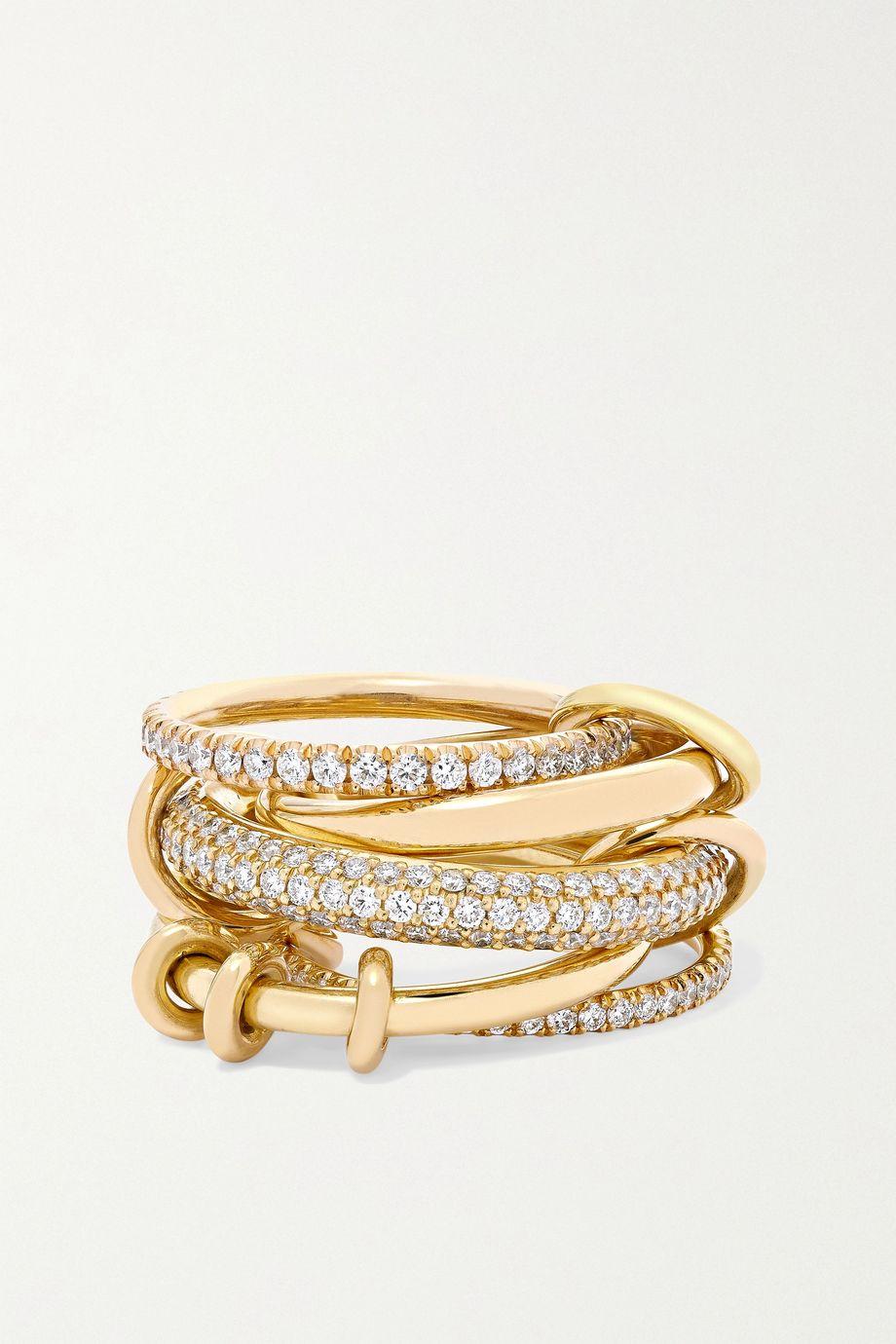 Spinelli Kilcollin Venus Set aus fünf Ringen aus 18 Karat Gelbgold und Diamanten