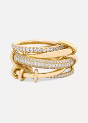 Set of five 18-karat yellow gold diamond rings