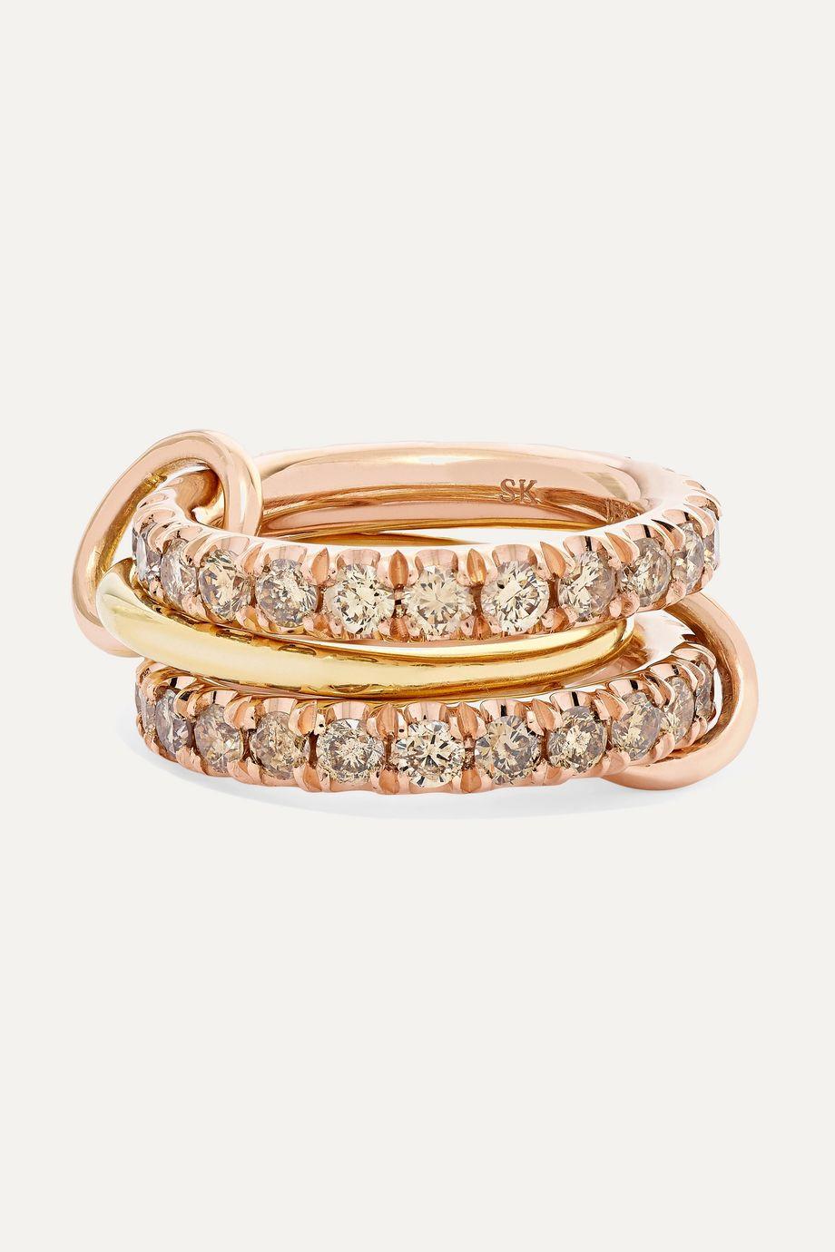 Spinelli Kilcollin Juno Rose set of three 18-karat yellow and rose gold diamond rings