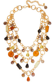 Loulou de la Falaise Gold-plated, glass and pearl necklace