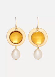 Gold-plated, glass and pearl earrings