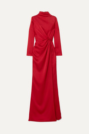 Wrap-effect draped satin gown