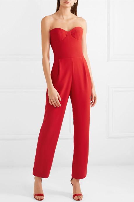 Strapless crepe jumpsuit