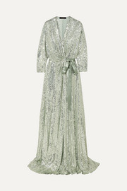Satin-trimmed sequined chiffon wrap gown