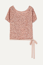 Grosgrain-trimmed sequined chiffon top