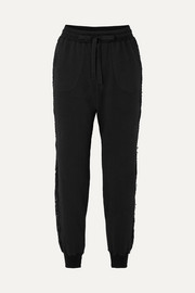 After Hours lace-trimmed cotton-blend fleece track pants