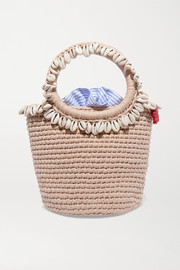 + Timeless Pearly shell-embellished crocheted cotton tote