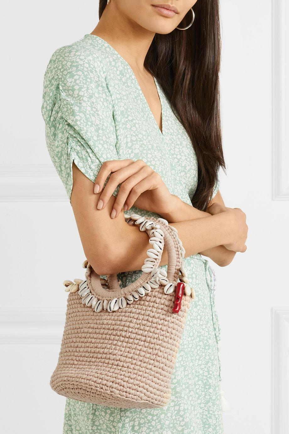 Mizele + Timeless Pearly shell-embellished crocheted cotton tote