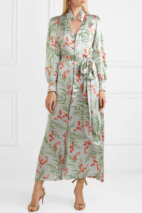 Olga floral-print silk-satin maxi dress