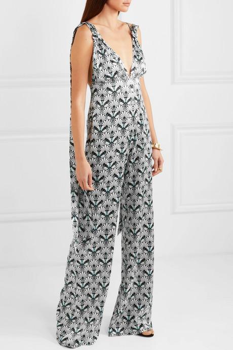 C.Z printed silk-satin jumpsuit