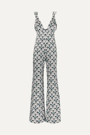 C.Z printed silk-satin jumpsuit