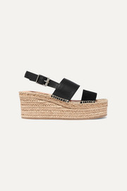 Edie leather and suede espadrille wedge sandals