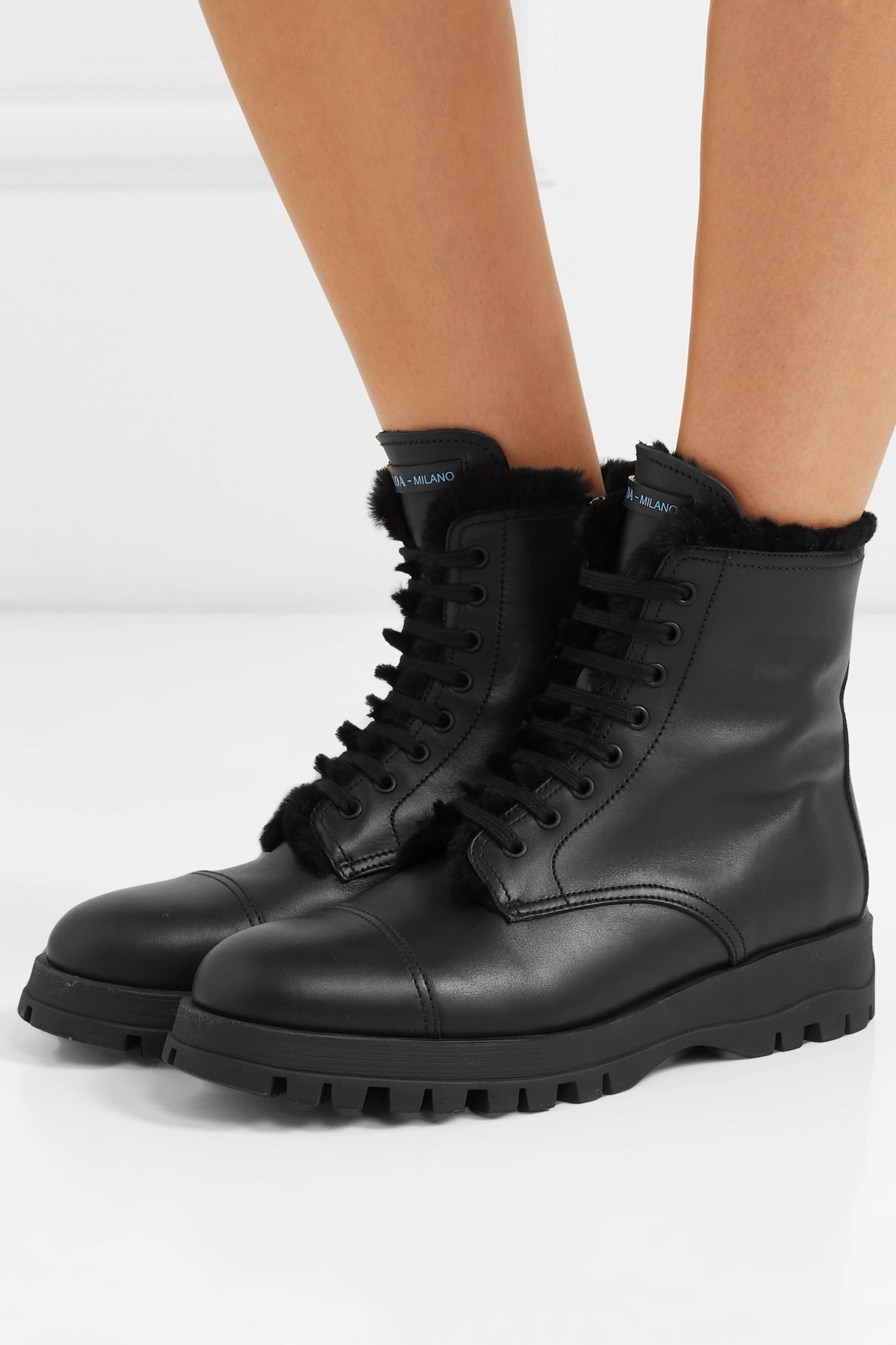 Black Shearling-lined leather ankle