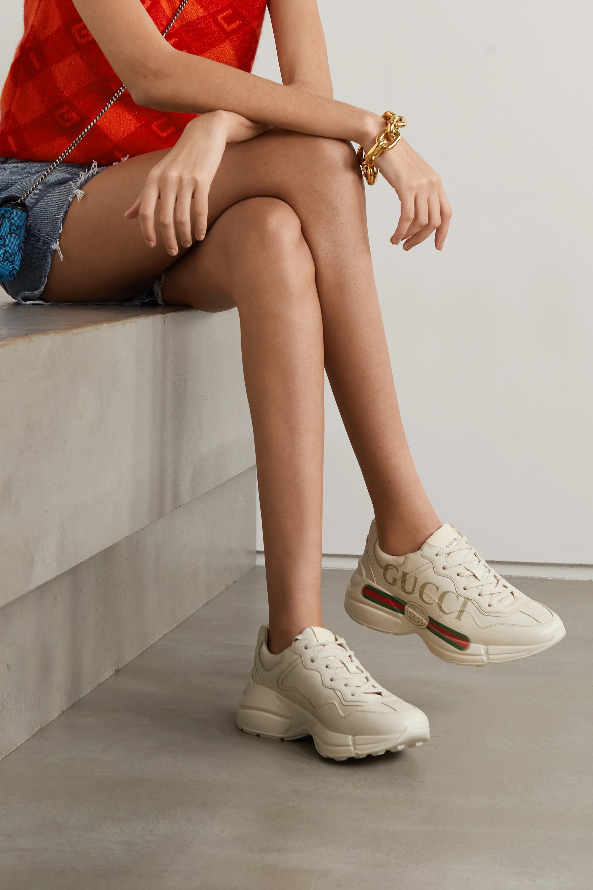 print leather sneakers | Gucci