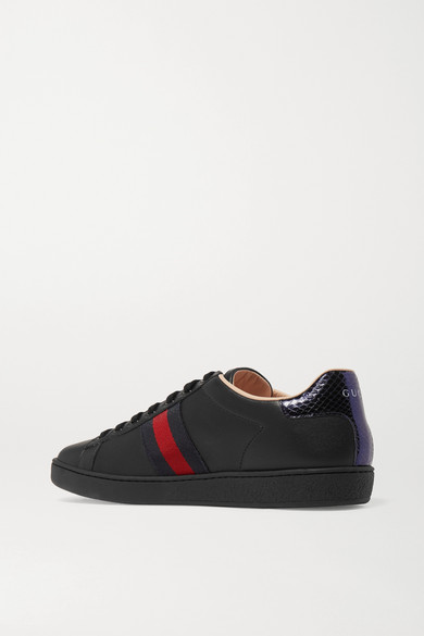 Gucci Sneakers Ace watersnake-trimmed embroidered leather sneakers