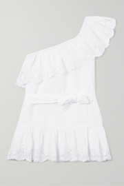 One-shoulder lace-trimmed cotton dress