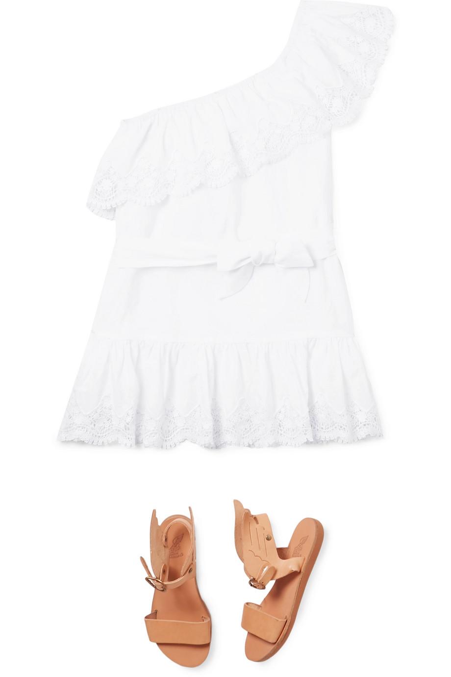 Miguelina Kids Kleid aus Baumwolle mit asymmetrischer Schulterpartie und Spitzenbesätzen