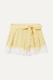 Ages 4 - 12 Liana crocheted striped cotton-voile shorts