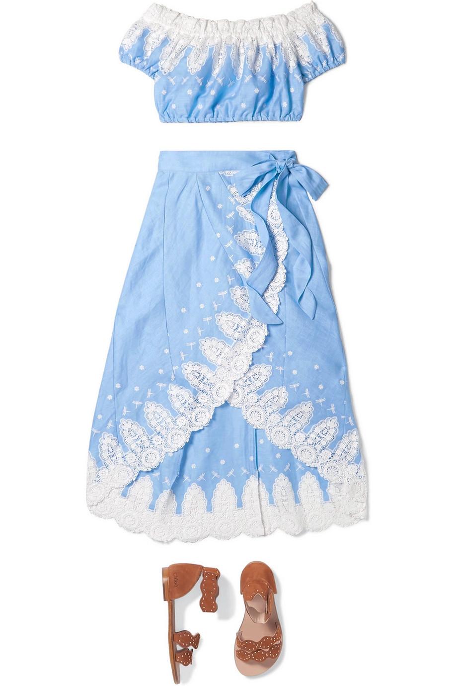 Miguelina Kids Tessa off-the-shoulder crochet-trimmed linen top