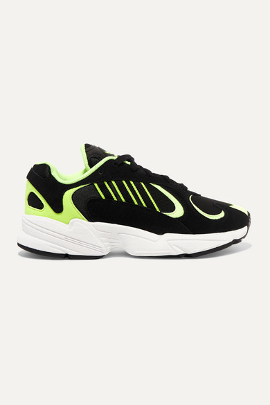 Yung 1 Neon Suede And Mesh Sneakers by Adidas Originals