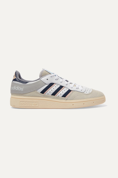 Handball Top Grosgrain Trimmed Suede And Leather Sneakers by Adidas Originals