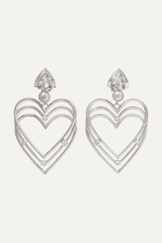 Balenciaga Silver-tone, crystal and faux pearl clip earrings