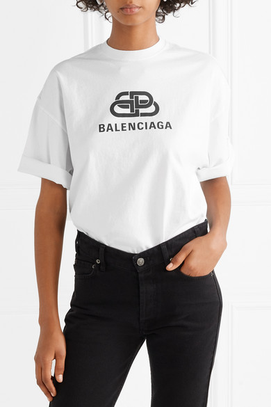 Balenciaga Shirts Oversized printed cotton-jersey T-shirt