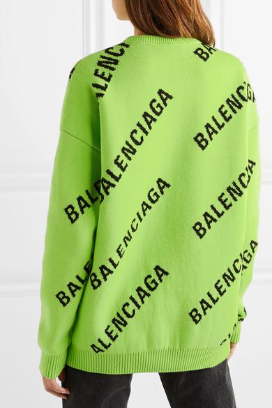 Balenciaga Knits Oversized intarsia cotton-blend sweater