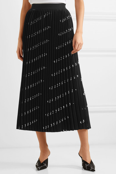 Balenciaga Knits Pleated printed stretch-knit midi skirt