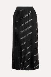 Balenciaga Pleated printed stretch-knit midi skirt