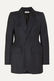Hourglass pinstriped wool and cashmere-blend blazer