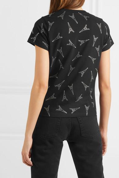 Balenciaga Shirts Crystal-embellished cotton-jersey T-shirt